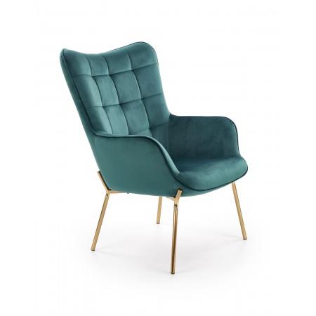 CASTEL 2 fotel wypoczynkowy złoty / ciemny zielony - Halmar