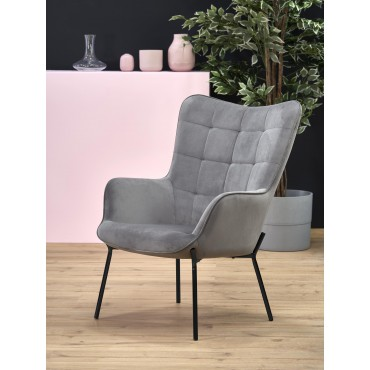 CASTEL fotel wypoczynkowy czarny / jasny popiel - Halmar