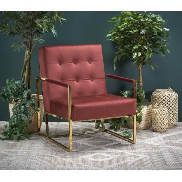 PRIUS fotel wypoczynkowy, tapicerka - bordowy, stelaż - złoty - Halmar