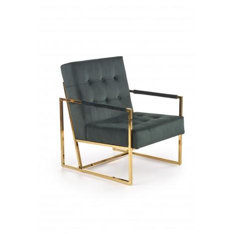 PRIUS fotel wypoczynkowy, tapicerka - ciemny zielony, stelaż - złoty - Halmar