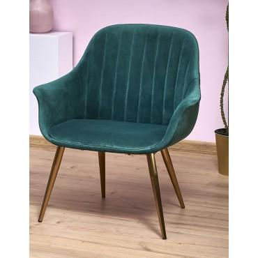 ELEGANCE 2 fotel wypoczynkowy tapicerka - ciemny zielony, nogi - złote (1p 1szt) - Halmar