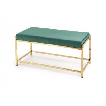 MOKKA ławka, stelaż - złoty, siedzisko - ciemny zielony (1p 1szt) - Halmar