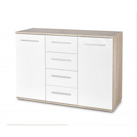 LIMA KM-4 komoda dąb sonoma / biały (2p 1szt) - Halmar