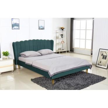 VALVERDE łóżko ciemny zielony / złoty (2p 1szt) - Halmar